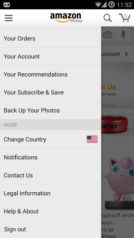 Amazon shopping app change country