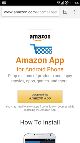 Install Amazon shopping app
