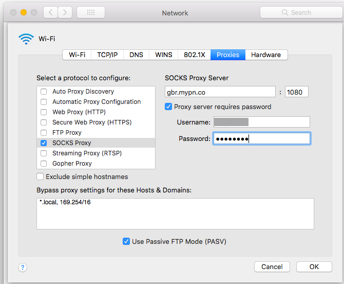 macOS - Using SOCKS5 | My Private Network | Global VPN Service Provider
