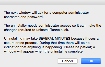 OS X - Tunnelblick Uninstallation | My Private Network