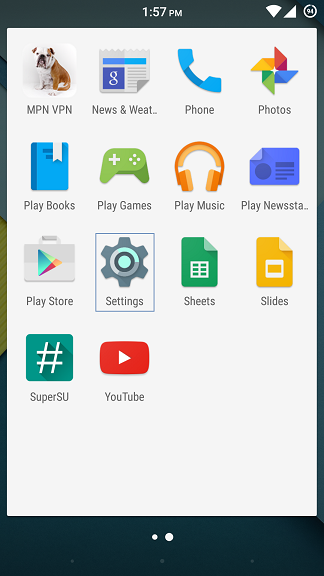 Entering the settings by going to the app drawer from the main screen