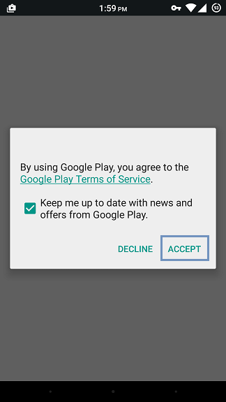 Accept to Google's Terms of Service by clicking Agree