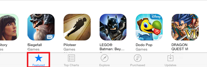 Select the Featured tab at the bottom of the App Store