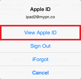 View your Apple ID