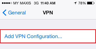 Adding a VPN configuration in iPhone