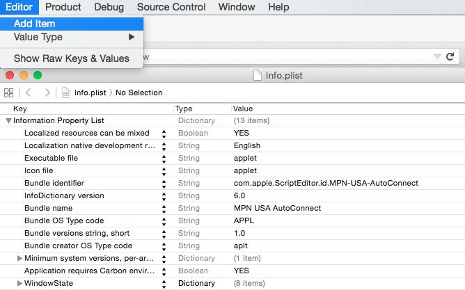 Mac OS X L2TP VPN Auto Start Xcode add a script