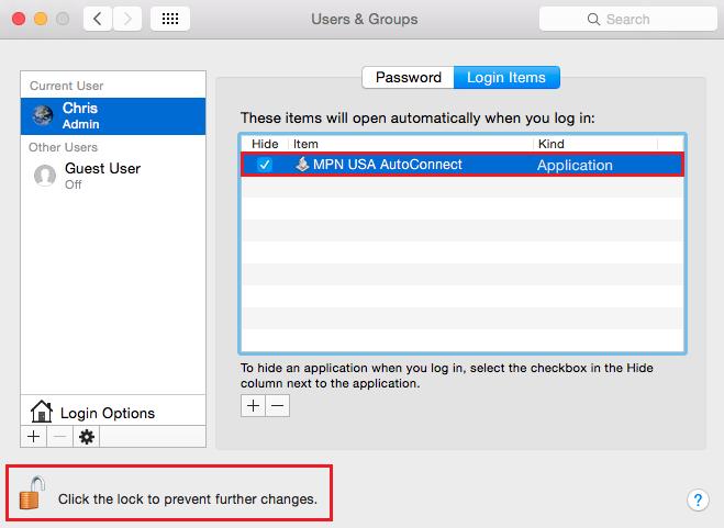 Mac OS X L2TP VPN Auto Start script added into login items