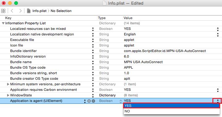 Mac OS X L2TP VPN Auto Start Xcode add a value