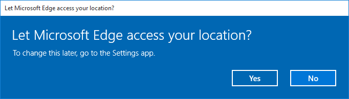 Microsoft Edge's prompt on wanting to access to the location settings