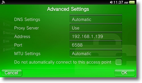Configuring your PS Vita to use a proxy | My Private Network