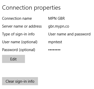 Change VPN crendentials and servernames in Windows 10