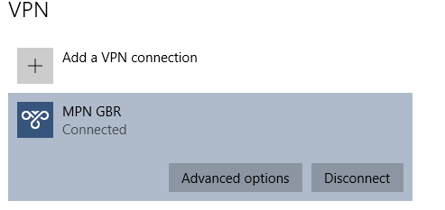 Windows 10 VPN connected successfully