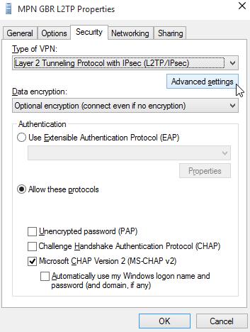Windows 10 VPN adapter advanced settings