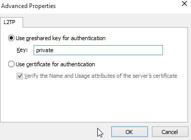 Windows 10 VPN L2TP preshared key