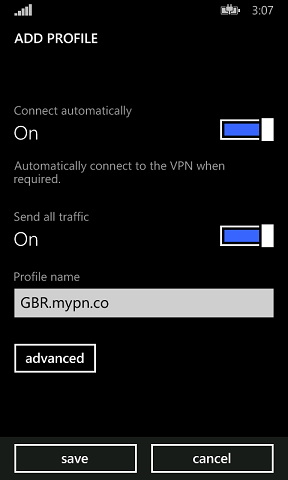 Please ensure that send all traffic is turned on, else, you wouldn't get a VPN IP even if you appear to be connected. Then save the profile name to anything that you want.