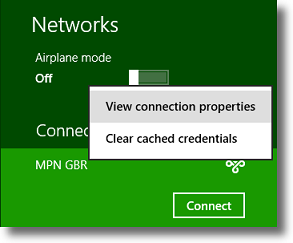 Windows 8 view connection properties