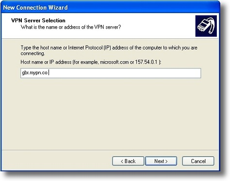 Microsoft Windows XP L2TP VPN server address
