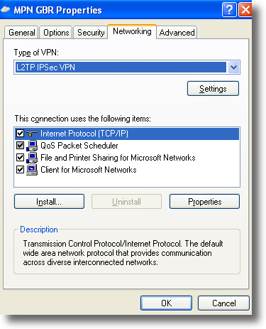 Microsoft Windows XP L2TP VPN IPSEC settings
