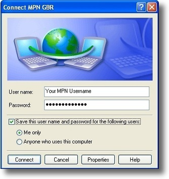 Microsoft Windows XP PPTP connect to VPN