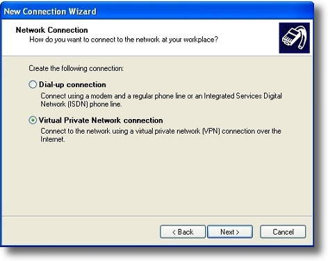 Microsoft Windows XP PPTP VPN connection