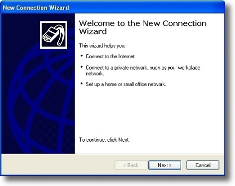 Microsoft Windows XP PPTP setup new connection