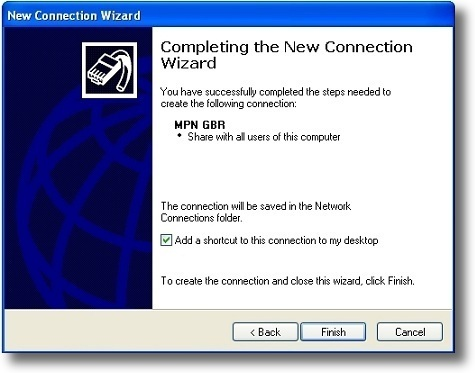 Microsoft Windows XP PPTP VPN setup complete