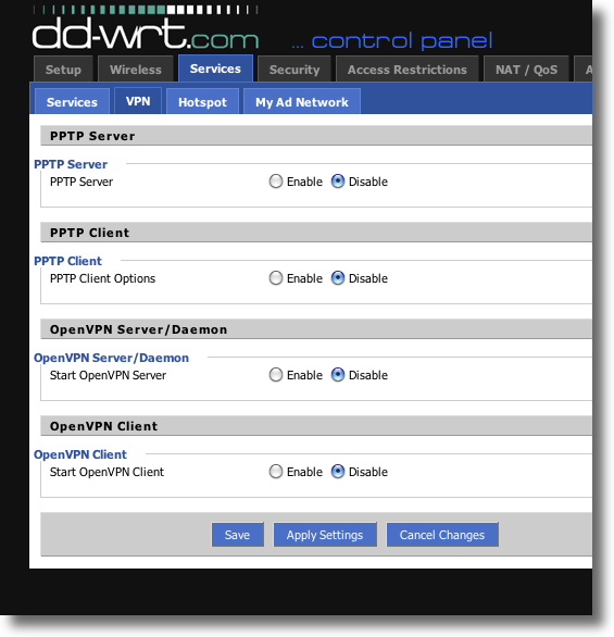 DDWRT VPN Services setting