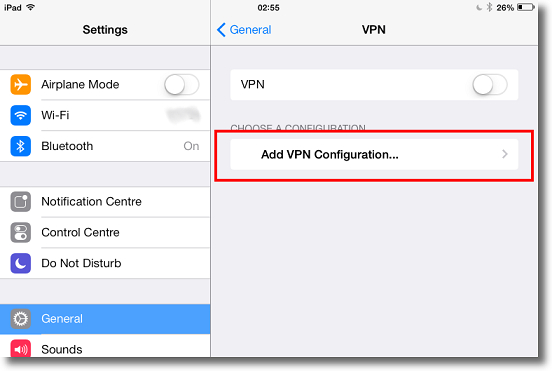 Apple iPad add L2TP VPN configuration
