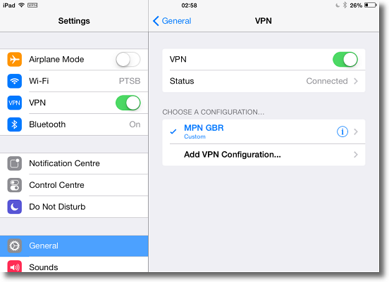 Apple iPad L2TP VPN connected