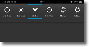 Kindle Fire HDX quick settings
