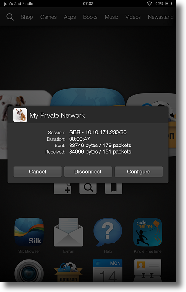 Kindle Fire HDX MPN VPN Manager Disconnect dialog