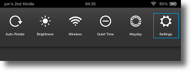 Kindle Fire HDX quick settings taskbar