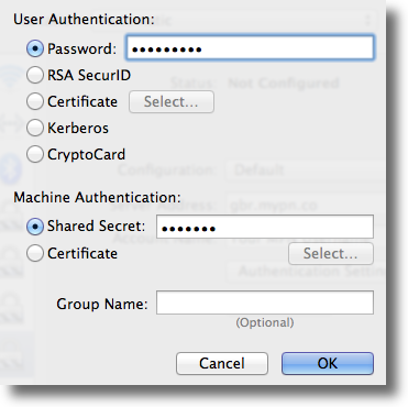 Apple OSX enter L2TP VPN credentials