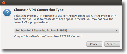 Ubuntu create a VPN connection type