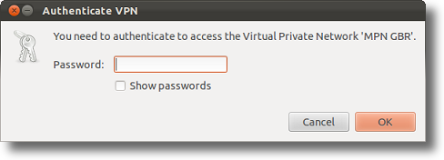 Ubuntu enter a VPN password