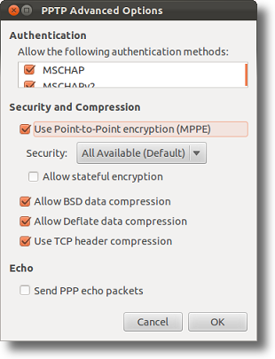 Ubuntu PPTP VPN advanced settings
