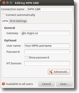 Ubuntu PPTP VPN settings