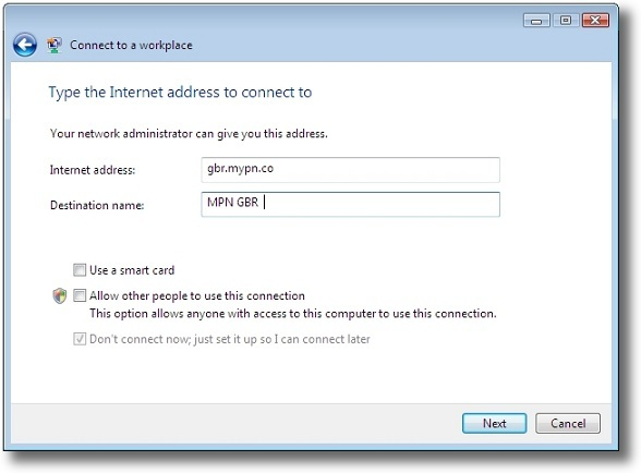 Microsoft Windows Vista PPTP enter VPN address