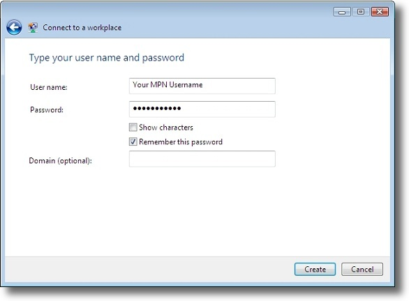 Microsoft Windows Vista PPTP enter VPN credentials