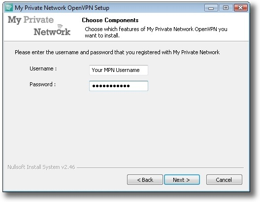 Microsoft Windows Vista OpenVPN SSL enter username and password