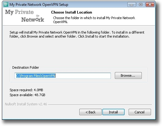 Microsoft Windows Vista OpenVPN installation directory