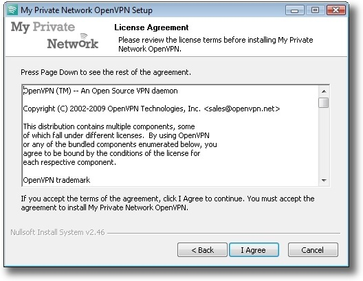 Microsoft Windows Vista OpenVPN license agreement