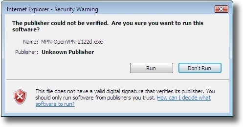 Microsoft Windows Vista OpenVPN security warning