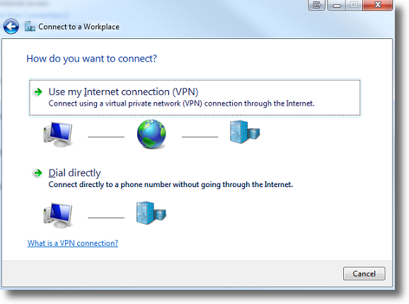 Windows 7 select VPN through Internet connection