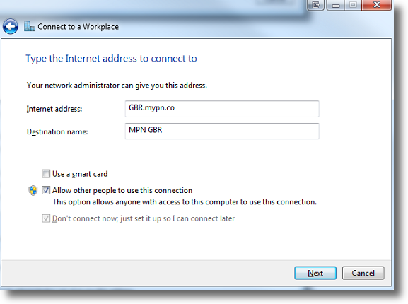Windows 7 enter VPN name and address