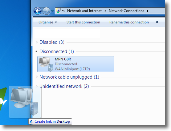 Windows 7 set VPN shortcut on Desktop
