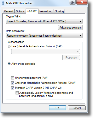 Windows 7 set VPN type to L2TP