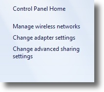 Windows 7 network panel change adapter settings