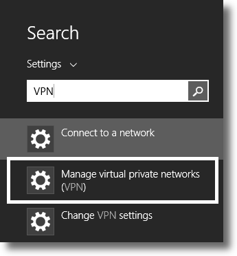 Search for the VPN settings in Windows