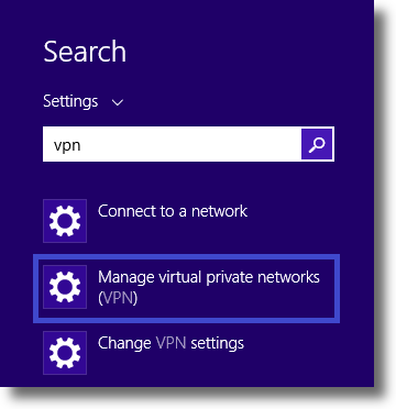 Windows 8.1 Search for VPN